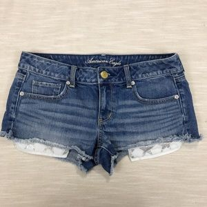 America Eagle Raw Hem Exposed Pockets Jean Shorts